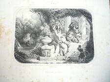 GRAVURE SALON DE 1842 UNE SIESTE EN ITALIE