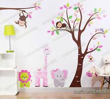 SCIMMIA Gufi Albero Giungla Animali Adesivi Murali Giraffa Elefante Leone Nursery