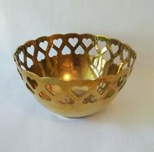 Vintage Solid Brass Bowl Pierced Heart Scalloped Rim Metalware Collectible