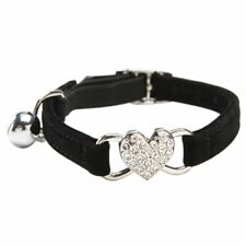 PF Heart charm and bell cat collar safety elastic adjustable with soft velvet ma