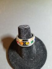 cubic zirconia Size 7 Stainless steel ring rainbow color
