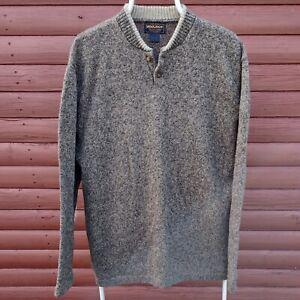 Woolrich Men's Chunky-Knit Button Top Jumper Size L Oatmeal Brown Feck