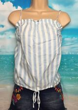 BNWT NEW LOOK 14 Blue White Stripe Crop Cotton Cami Vest Top Beach Holiday Wear