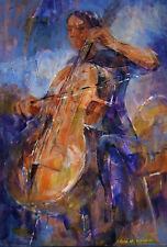 "SUPERB ORIGINAL SERA KNIGHT S.W.A  ""Cellist"" Concert Orchestra cellists PAINTING"