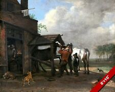 THE FARRIERS WORK SHOP HORSE SHOEING CARE PAINTING ART REAL CANVAS GICLEEPRINT