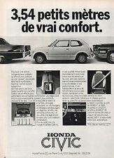 Publicité Advertising 1977  HONDA CIVIC un vrai confort