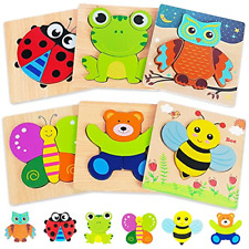 Wooden Puzzles Toddler Toys Gifts for 1 2 3 Year Old Boys Girls, 6 Pack Animal