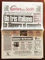 CORRIERE DELLO SPORT 16 03 1989 NAPOLI JUVENTUS 3-0 COPPA UEFA MARADONA marzo