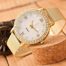 Classic Womens Watch Analog Crystal Gold Mesh Band Stainless Steel Wrist Watches