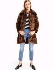 NWT J Crew Faux Fur Leopard Print Coat Sz M Spotted G9553 SOLD OUT!! Jacket