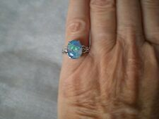 Mosaic Opal oval ring, 11 x 8.5 mm, size J/K, 1.81 grams of 925 Sterling Silver