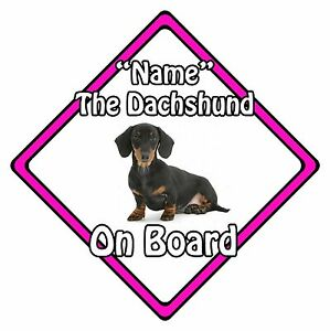 Personalised Dog On Board Car Safety Sign - Dachshund On Board Pink