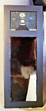 "nautical theme 24"" x 10"" blue wood frame Warren Kimble lighthouse trumeau mirror"