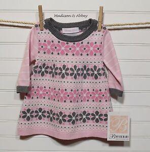 Bonnie Baby Infant Girls Floral Stripe A-Line Sweater Dress ~ Pink & Grey ~ NWT