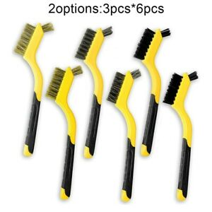 """3/6pcs 7"""" Wire Brush Set Nylon/Brass/Stainless Steel Scratch Brushes Cleaning"""