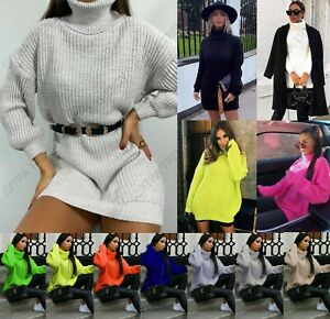 Women's High Roll Neck Oversized Jumper Dress Ladies Winter Knitted Pullover Top