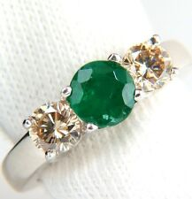 $3500 1.90ct NATURAL ROUND EMERALD FANCY COLOR BROWN DIAMONDS RING 14KT W GOLD