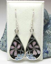 NEU 925 Silber OHRHÄNGER Blüten/Blumen PERLMUTT rosa/blau/schwarz OHRRINGE