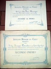 1898 LOTTO DI DUE DIPLOMI 'ISTITUTO RINALDI GIA' GALLI' DI MODENA