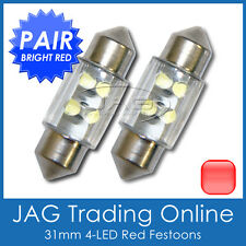 2 x 31mm 4-LED RED FESTOON INTERIOR LIGHT GLOBES/BULBS - Car/Boat/Caravan/RV