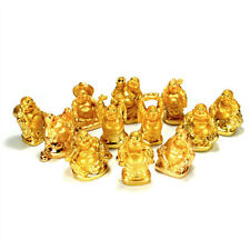 SET OF 12 GOLDEN HAPPY BUDDHA STATUES Gold Color Hotei Fat Laughing Resin Lot