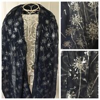 Dandelions Ladies Scarf Shawl New Metallic Print Trendy Blue Lovely Xmas Gift