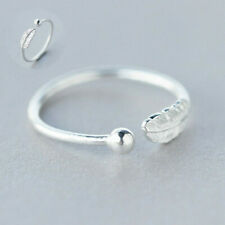 Jewelry Thumb Ring Wedding Band Open Sterling Finger Feather Adjustable Silver