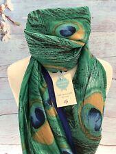 Pfauenfeder grün Seide Schal Wrap Geschenk Tier Geburtstag Weihnachten