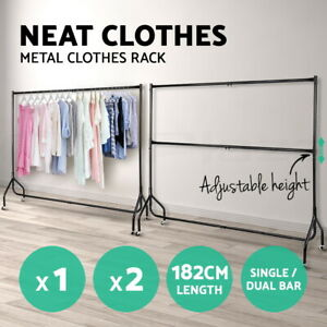 6 FT Clothes Rack Metal Garment Display Rolling Portable Rail Hanger Dryer Stand