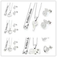Stainless Steel Love Heart Bear- Necklace Pendant Earrings Sets