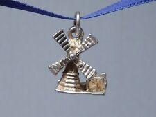 Vintage Sterling Silver Bracelet Charm - Windmill With Dutch Girl & Boy