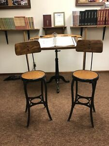 Pair Restored Antique Industrial Printers Counter Height Production Stools TOC