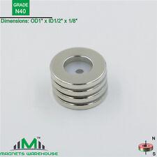 "4-Ct Rare Earth Neodymium Grade N40 Ring Magnets 1"" OD x 1/2"" ID x 1/8"""