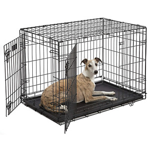 "Dog Crate | MidWest iCrate 36"" Double Door Folding Metal Dog Crate w/ Divider &"