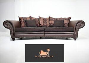 Designer Sofa Couch Kolonialstil Lounge Leder Big Kissen XXL Big Relax Wohnen