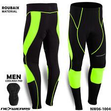 Men Cycling Long Pants Tights Trousers Legging Bicycle Bike Padded Thermal HiViz Green 2xl