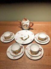 Vintage Japanese Dragonware Tea Set Lithophane Cups Saucers Plate & Teapot 14pcs