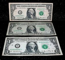 """$1 ONE Dollar Bill STAR NOTE Money LOT Low Serial Number """"3"""" CIRCULATED Notes"""