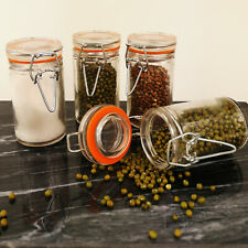 Clip Top Spice Jars Set Of 4 Dried Herbs Spices Pulses Kitchen Storage Canisters