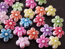 100 cute Flowers 10mm  Multicolor acrylic plastic loose beads