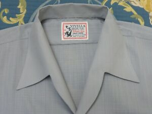 VIYELLA PERMANENT PRESS SHIRT ROCKABILLY BOWLING WORK WEAR CHORE 1940s 50s M VTG