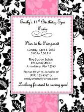 Personalized  Custom Spa Birthday Party Invitation Style B