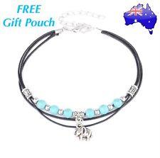 Turquoise Bead Elephant Charm Anklet Ankle Bracelet Boho Hippy Gypsie Gift New