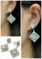 Silver Diamante Square Drop Dangle Clip On Earrings Crystal Bridal Non Pierced