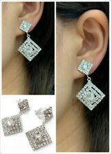 Silver Diamante Square Drop Dangle Clip On Earrings Crystal Bridal Non Pierced