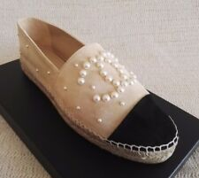 2018 CHANEL ESPADRILLES BEIGE BLACK SUEDE 38 7 PEARL 17B  FLATS SHOES SPRING CC