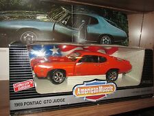 1969 Pontiac GTO ORANGE W/ red wheel centers mags 1/18 69 judge goat limited ed