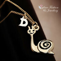 18K Rose Gold Plated Lovely Smiling Snail With Letter D Necklace