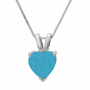 """0.5 ct Heart Blue Turquoise Pendant Necklace 16"""" Chain Gift Real 14k White gold"""