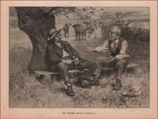 FARMER & BUTCHER NEGOTIATION Over COWS by G Gaul, antique engraving  1887